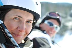 Winer woman ski Stock Images