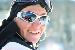 Winer woman ski Royalty Free Stock Images