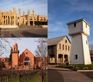 Winery collage Napa Valley wine country. 3 of Napa Valleys premier wineries that are hugely successful and huge tourist attractions Stock Photo