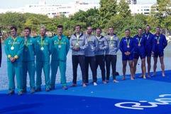Winers of the men's quadruple sculls in Rio2016 Stock Photo