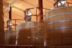 At the Winery. Factory, Huge barrels Stock Photo