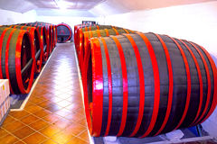 Winery. Old wooden barrels for wine storage, photography Royalty Free Stock Photos