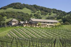 Winery atop a hill. Winery atop lush green hill overlooking vineyards in the Napa Valley, California Stock Photos