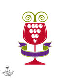 Winery award theme vector illustration. Stylized half full glass. Of wine with grapes cluster and decorative ribbon. Racemation symbol best for use in Royalty Free Stock Image