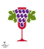 Winery award theme vector illustration. Stylized half full glass Royalty Free Stock Photo