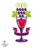 Winery award theme vector illustration. Stylized half full glass Stock Image