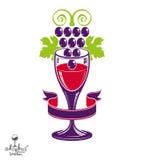 Winery award theme vector illustration. Stylized half full glass Stock Image