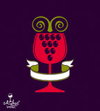 Winery award theme vector illustration. Stylized half full glass Royalty Free Stock Photography