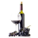 Winery background with bottle of red wine and glass. Stock Photos