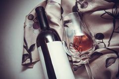 Winery background. Curvy textile drapery with cupid statue background Stock Photo