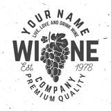 Winery badge, sign or label. Vector illustration. Royalty Free Stock Image