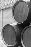 Winery Barrels. Three barrels in the yard of a winery in Bussum, Netherlands royalty free stock photos