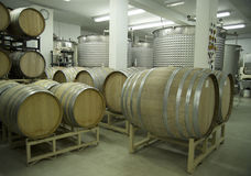 Winery-Barrels and Vats-D2x-44366. A modern winery cellar. Focus=CO2 stopcock between the two white pillars.(14MP camera Stock Photos