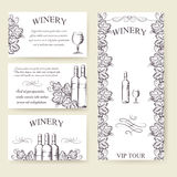 Winery bouqlet and cards templates set Royalty Free Stock Photos