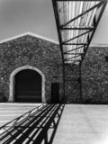 Winery building, black and white. Black and white, Napa Valley Winery operations stock photography