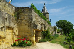 Winery and cellar. Bordeaux winery and cellar in yellow rock in france Stock Photography