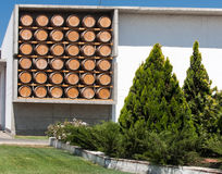 Winery in Chile. A set of oak barrels on a wall in a winery in Maipo Valley, Chile royalty free stock images