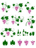 Winery design object silhouettes. Stock Photos