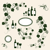 Winery design object silhouettes. Royalty Free Stock Photography