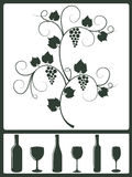 Winery design objects. Silhouette set of winery design objects Royalty Free Stock Images