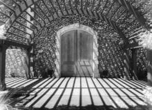 Winery doors, black and white. Black and white, Napa Valley Winery, elaborate doors and arched entry arbor stock photo
