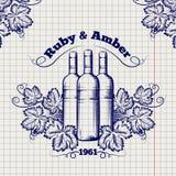 Winery emblem sketch design Stock Images