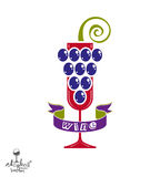 Winery idea eps8 vector illustration. Elegant glass of wine with Royalty Free Stock Photography