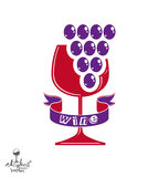 Winery idea eps8 vector illustration. Elegant glass of wine Royalty Free Stock Photos