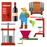 Winery making harvest cellar vineyard glass beverage industry alcohol production vector illustration Stock Photo
