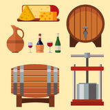 Winery making harvest cellar vineyard glass beverage industry alcohol production vector illustration Royalty Free Stock Photo