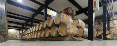 Winery with  many wooden barrels Royalty Free Stock Images