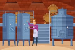 Winery Production Facility Cartoon Composition. Wine production equipment in winery facility cellar with winemaker tasting and evaluating product cartoon Royalty Free Stock Photo