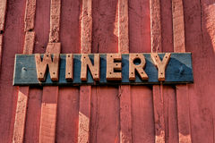 Winery Sign. Red wooden sign for a winery in Virginia's wine country Stock Images