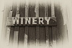 Winery Sign in Sepia Royalty Free Stock Photos
