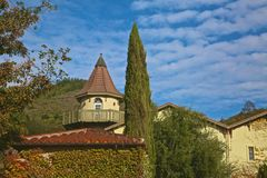 Winery Sonoma California. Building trees sky create serene location for wine tasting Stock Image