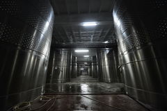 Winery steel tanks Stock Images