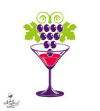 Winery theme vector illustration. Stylized half full martini glass with grapes cluster, racemation symbol best for use in. Advertising and graphic design stock illustration