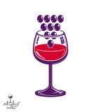 Winery theme vector illustration. Stylized wineglass with grapes Stock Image