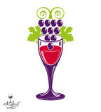Winery theme vector illustration. Stylized wineglass with grapes Royalty Free Stock Photography