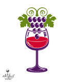 Winery theme vector illustration. Stylized wineglass with grapes Royalty Free Stock Photo