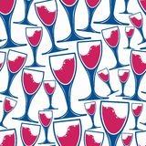 Winery theme vector  seamless pattern, decorative wine glasses Royalty Free Stock Images