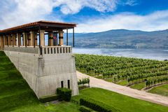 Winery Vineyard in Kelowna, British Columbia. Terrace overlooking a modern vineyard and Lake Okanagan in British Columbia, Canada Royalty Free Stock Photo
