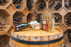 Winery. Wine Collection on winery in basement restaurant Stock Photos