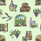 Wine production cellar winery viticulture winey product alcohol farm grape vintage hand drawn vector illustration Stock Images