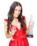 Winery Woman With Red Wine Glass And Decanter Stock Photos