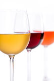Wines. Close up photograph of glasses of white red and rose wine Stock Photography