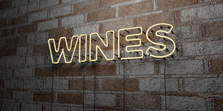 WINES - Glowing Neon Sign on stonework wall - 3D rendered royalty free stock illustration. Can be used for online banner ads and direct mailers Stock Photos