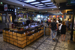 Wines stand in famous Sarona food market Royalty Free Stock Photography