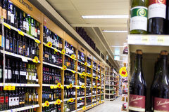 Wines at the supermarket Stock Photos