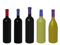 Wines of the World Without Labels 3D Royalty Free Stock Images